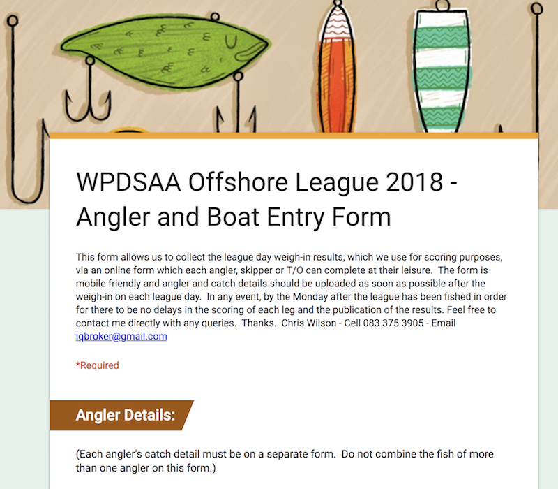 WPDSAA Offshore League 2018 - Angler and Boat Entry Form