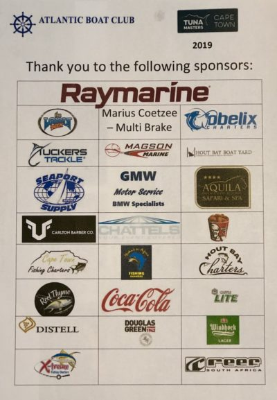 tuna masters cape town 2019 sponsors