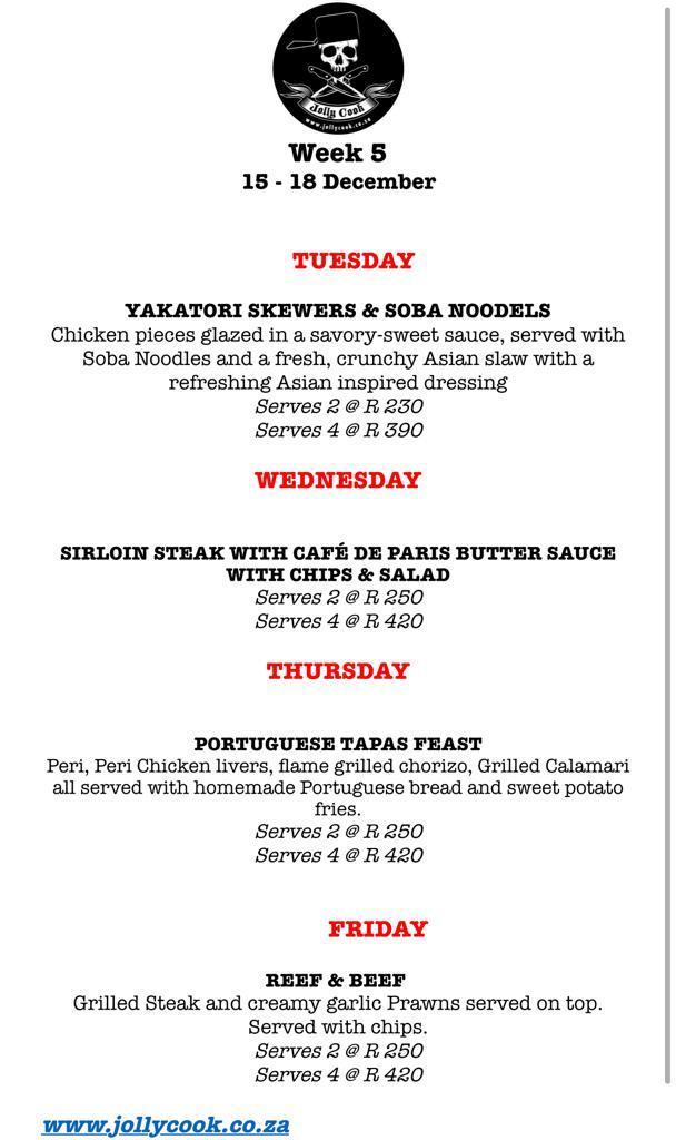 the jolly cook menu week 5