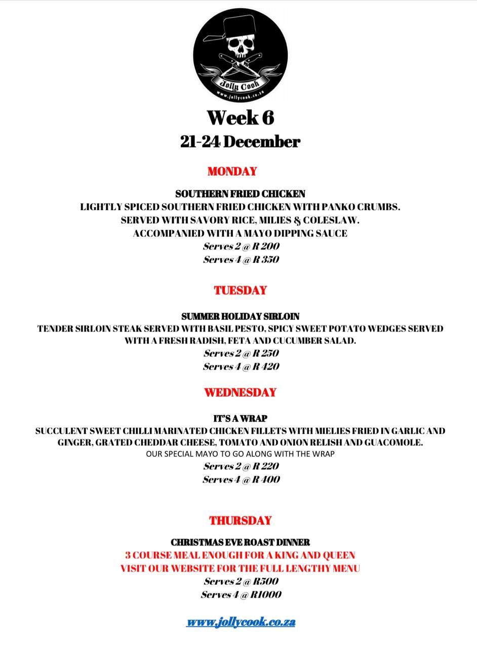 the jolly cook week 6 menu