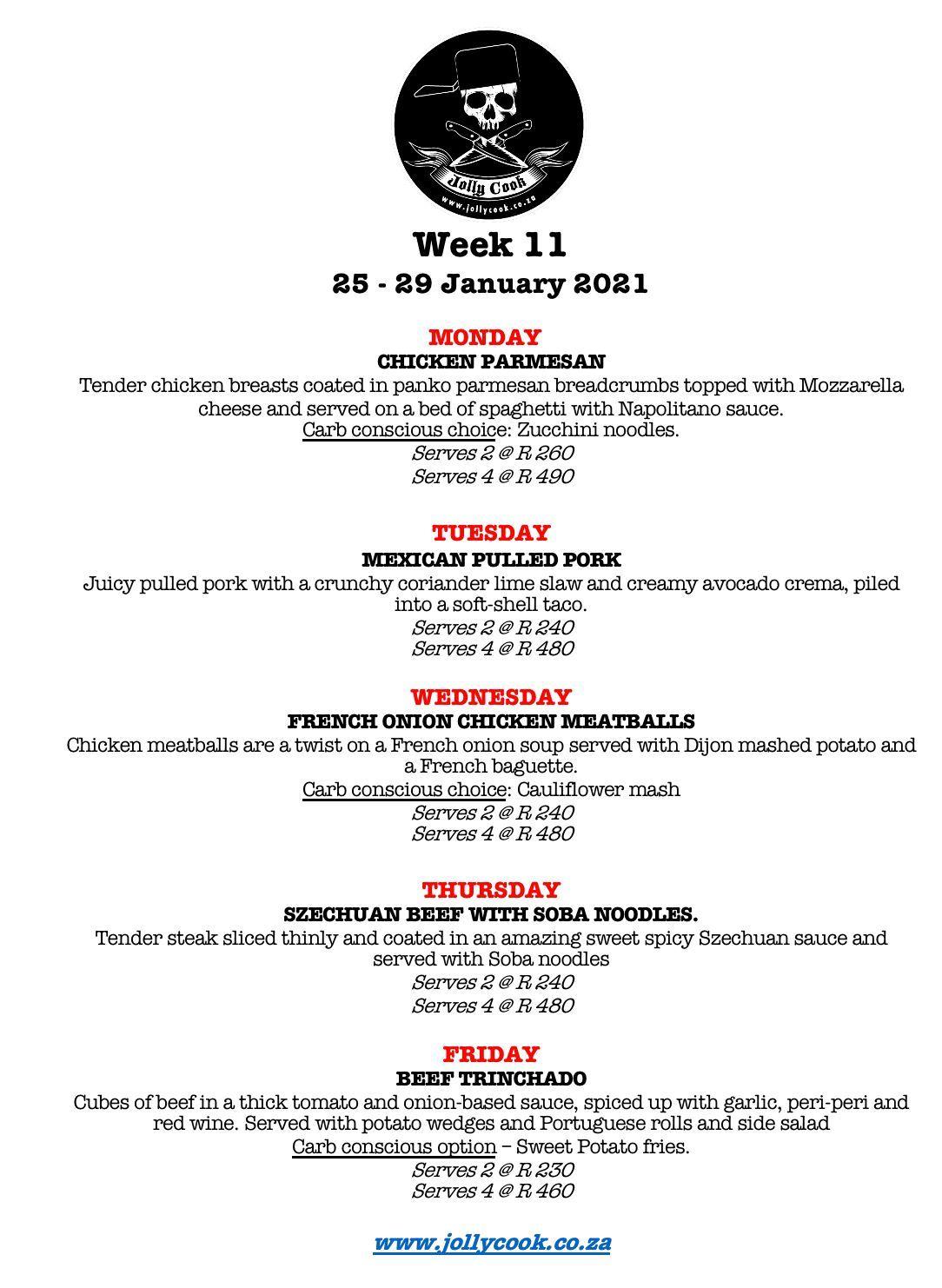 The Jolly Cook Week 11 Menu