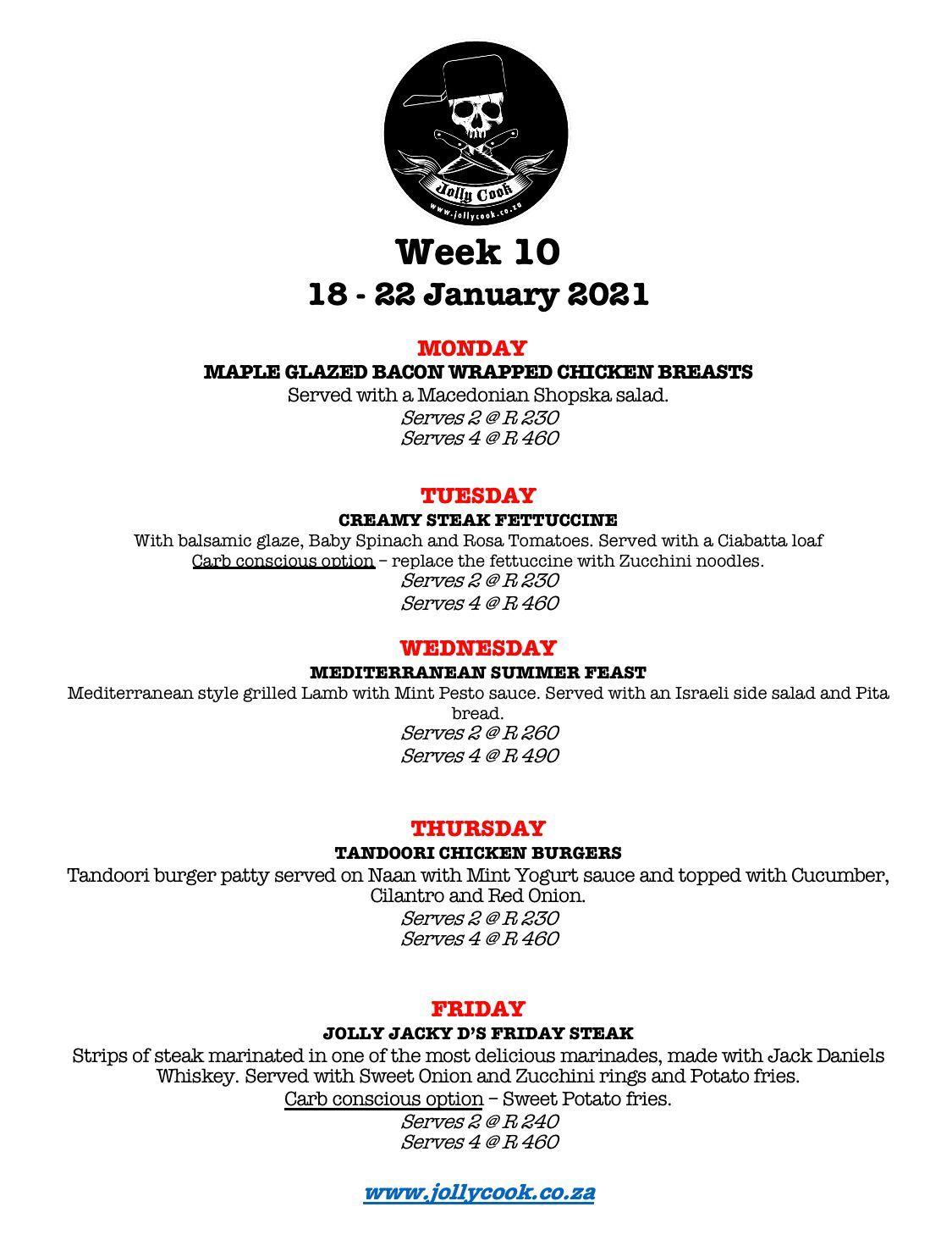 jolly cook week 10 menu