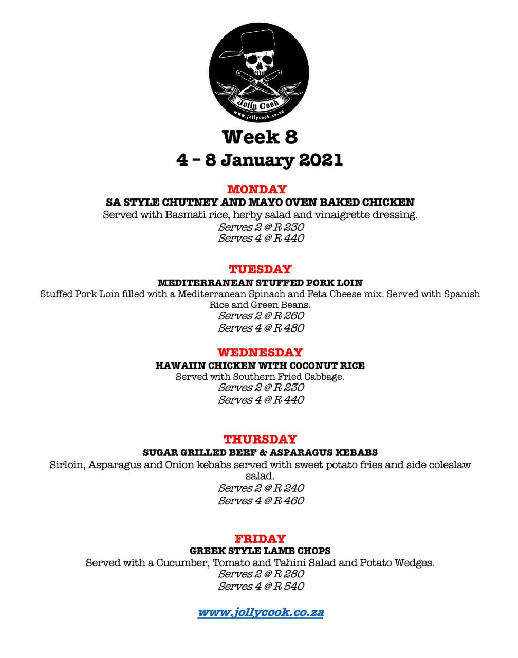 the jolly cook week 8 menu