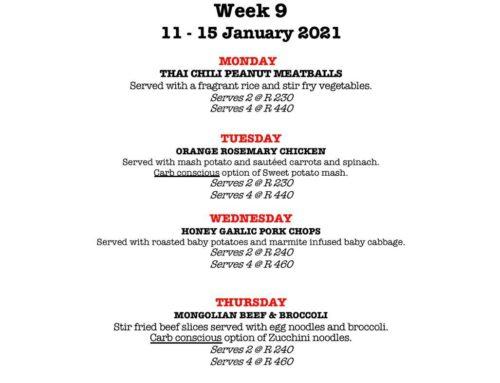 The Jolly Cook Week 9 Menu
