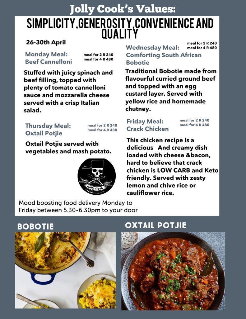 The Jolly Cook Menu 26-30 April